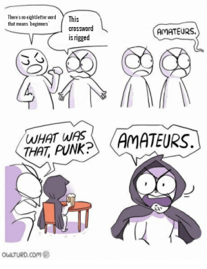 "Amateurs: There's no eightletter word  that means beginners""  This  crossword  AMATEURS.  is rigged  WHAT WAS  THAT, PUNK?  AMATEURS.  OWLTURD.COM Amateurs"
