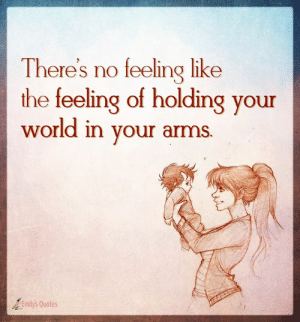 Memes, Http, and Quotes: There's no feeling like  the feeling of holding your  world in your arms.  25  Emilys Quotes - ≧◡≦ Popular inspirational quotes at http://emilysquotes.com/ #quotes #inspirationalquotes #emilysquotes