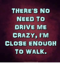 Crazy, Driving, and Funny: THERE'S NO  NEED TO  DRIVE ME  CRAZY, I'M  CLOSE ENOUGH  TO WALK.