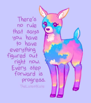 Step, You, and Now: There's  no rule  that says  you have  to have  everything  figured out  right now.  Every step  forward is  Progress.  TheLatestKate