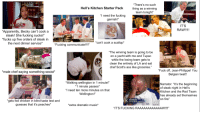 """Garnishment: """"There's no such  thing as a winning  team tonight""""  Hell's Kitchen Starter Pack  """"I need the fucking  garnish!""""  IT'S  RAW!!1!  PITTSBUR  Apparently, Becky can't cook a  steak! She fucking sucks!""""  fucks up five orders of steak in  the next dinner service*  Fucking communicate!!!""""can't cook a scallop*  The winning team is going to be  on a yacht with me and Tupac  while the losing team gets to  clean the entirety of LA and eat  chef Scott's ass like groceries.""""  """"Fuck off, Jean-Philippe! You  Belgian twat!!  *male chef saying something sexist*  """"Walking  wellington in 1 minute!""""  *1 minute passes*  """"I need ten more minutes on that  Wellington!""""  Narrator: """"It's the beginning  of steak night in Hell's  Kitchen and the Red Team  has already set themselves  on fire""""  K RAROS  gets fed chicken in blind taste test and  guesses that it's peaches*  STATION: MEAT  *extra dramatic music  Borls  """"IT'S FUCKING RAAAAAAAAAAAAW!!!"""""""