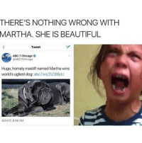 Abc, Being Alone, and Beautiful: THERE'S NOTHING WRONG WITH  MARTHA. SHE IS BEAUTIFUL  Tweet  ABC 7 Chicago  @ABC7Chicago  Huge, homely mastiff named Martha wins  world's ugliest dog: abc7ws/2128BpU  6/24/17, 8:46 AM leave martha alone