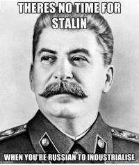 https://t.co/RDhNNTi4wv: THERES NOTIME FOR  STALIN  WHEN YOU'RE RUSSIAN TO INDUSTRIALISE https://t.co/RDhNNTi4wv