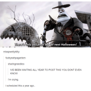 Halloween, Omg, and Soon...: There's only 365 days left til next Halloween!  misspwettykitt  fuckyeahpaganism  sharingneedles  IVE BEEN WAITING ALL YEAR TO POST THIS YOU DONT EVEN  KNOW  i scheduled this a year ago ITS SO SOONomg-humor.tumblr.com