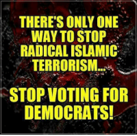 Only One, Terrorism, and One: THERE'S ONLY ONE  WAY TO STOP  RADICAL ISLAMIC  TERRORISM  STOPVOTING FOR  DEMOCRATS!