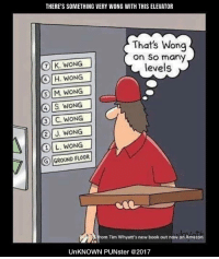 Tears sum ting Wong wiff tis elebader.  #UnKNOWN_PUNster: THERE'S SOMETHING VERY WONG WITH THIS ELEVATOR  That's Wong  on So many  levels  ⑦l K. WONG  6 H. WONG  ⑤ M.WONG    4 S WONG  3) C. WONG  2J. WONG  이 L.  G)  GROUND FLOOR  from Tim Whyatt's new book out now on Amazon  UnKNOWN PUNster @2017 Tears sum ting Wong wiff tis elebader.  #UnKNOWN_PUNster