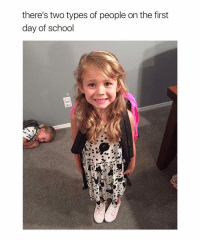 Memes, School, and Back: there's two types of people on the first  day of school I'm the little boy in the back! 😂