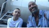 "Life, Memes, and Wshh: TheRock meets with a young fan who saved his little brother's life with something he learned from a scene in the movie ""San Andreas"" 🙏💯 @TheRock WSHH"