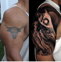 "TheRock shows his ""evolution of the bull"" tattoo done by NikkoHurtado...thoughts? 🤔 @TheRock WSHH: TheRock shows his ""evolution of the bull"" tattoo done by NikkoHurtado...thoughts? 🤔 @TheRock WSHH"