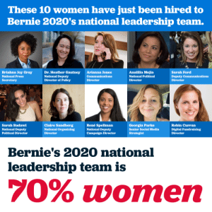 "Erin Hannon is now part of Bernies leadership team under the alias of ""Sara Ford"": These 10 women have just been hired to  Bernie 2020's national leadership team.  Briahna Joy Gray  National Press  Secretary  Dr. Heather Gautney  National Deputy  Director of Policy  Arianna Jones  Communications  Director  Analilia Mejia  National Political  Director  Sarah Ford  Deputy Communications  Director  Sarah Badawi  National Deputy  Political Director  Claire Sandberg  National Organizing  Director  René Spellman  National Deputy  Campaign Director  Georgia Parke  Senior Social Media  Strategist  Robin Curran  Digital Fundraising  Director  Bernie's 2020 national  leadership team is  70% women Erin Hannon is now part of Bernies leadership team under the alias of ""Sara Ford"""