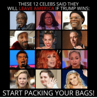 America, Memes, and Trump: THESE 12 CELEBS SAID THEY  WILL  LEAVE AMERICA  IF TRUMP WINS:  START PACKING YOUR BAGS! (WB) #byefelicia
