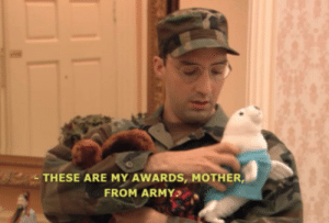Army, Home, and Vietnam: THESE ARE MY AWARDS, MOTHER,  FROM ARMY U.S. soldier returns home from the Vietnam War, (1968)