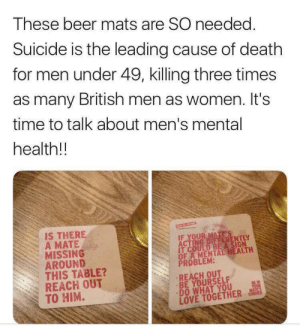 Beer, Love, and Best: These beer mats are SO needed.  Suicide is the leading cause of death  for men under 49, killing three times  as many British men as women. It's  time to talk about men's mental  health!!  IS THERE  A MATE  MISSING  AROUND  THIS TABLE?  REACH OUT  TO HIM.  T COULD BE A SIGN  OF A MENTAL HEALTH  PROBLEM:  REACH OUT  BE YOURSELF  DO WHAT YOU  LOVE TOGETHER co If I had a factory that did this I'd try my best to distribute them for free! Might try to buy some anyway this is such a good idea. Every little helps!