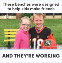 "Friends, Memes, and Help: These benches were designed  to help kids make friends  COURTESY OF HEIDI  AYGROUND ."" USA TODAY (2018  VANCE  )  ""HO, A 9tyBR-OLD AND HER BOTTLE CAP  AND THEY'RE WORKING These benches are made completely out of recycled bottle caps."