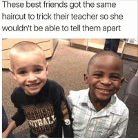 Friends, Haircut, and Memes: These best friends got the same  haircut to trick their teacher so she  wouldn't be able to tell them apart  Bi Follow backup page @spray
