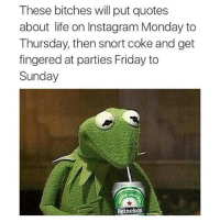quotes about life: These bitches will put quotes  about life on Instagram Monday to  Thursday, then snort coke and get  fingered at parties Friday to  Sunday  Heineken