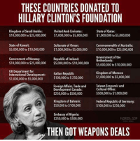...: THESE COUNTRIES DONATED TO  HILLARY CLINTON'S FOUNDATION  Kingdom of Saudi Arabia:  United Arab Emirates:  State of Qatar:  $10,000,000 to $25,000,000 $1,000,000 to $5,000,000  $1,000,000 to $5,000,000  State of Kuwait:  Sultanate of Oman:  Commonwealth of Australia:  $5,000,000 to $10,000,000 $1,000,000 to $5,000,000 $10,000,000to $25,000,000  Government of the  Government of Norway:  Republic of Ireland:  Netherlands:  $10,000,000 to $25,000,000 $5,000,000 to $10,000,000  $5,000,000 to $10,000,000  UK Department for  Kingdom of Morocco  International Development  Italian Republic  $1,000,000 to $5,000,000  $100,000 to $250,000  $1,000,000 to $5,000,000  Foreign Affairs, Trade and  Taiwan  Economic and  Cultural Office:  Development Canada  $500,000 to $1,000,000  $250,000 to $500,000  Kingdom of Bahrain:  Federal Republic of Germany:  $50,000 to $100,000  $100,000 to $250,000  Embassy of Algeria:  $250,000 to $500,000  FLORIDA GOP  THEN GOT WEAPONS DEALS ...