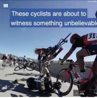 Memes, 🤖, and Bridge: These cyclists are about to  witness something unbelievable  -0% Crazy: A cyclist nearly falls off a bridge following a collision with other riders!! 🚲😩🙏 @MailSport WSHH