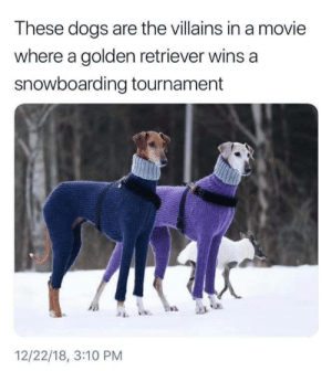 Dank, Dogs, and Memes: These dogs are the villains in a movie  where a golden retriever wins a  snowboarding tournament  12/22/18, 3:10 PM Surely theres an Air Bud movie with this exact plot by ClassicDecimus12 MORE MEMES