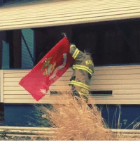 These firefighters were Returning from a car fire... when they noticed a Marine Corps flag had fallen. Out of respect, they stopped their rig and put it back up. SEMPER FIDELIS!!: These firefighters were Returning from a car fire... when they noticed a Marine Corps flag had fallen. Out of respect, they stopped their rig and put it back up. SEMPER FIDELIS!!