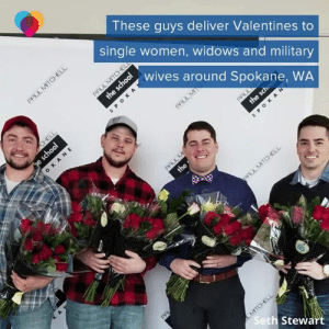 Memes, Women, and World: These guys deliver Valentines to  single women, widows and military  wives around Spokane, WA  Se  th Stewart The world needs more of this. 💜