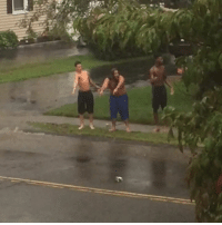 Thing, Funniest, and Guys: These guys reactions to be splashed by puddles is the funniest thing ever! 😂💦  Credit: ViralHog