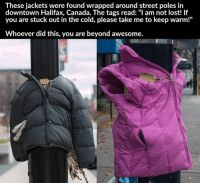 """This is one of the most beautiful gestures I've seen in a while 💙👏: These jackets were found wrapped around street poles in  downtown Halifax, Canada. The tags read: """"I am not lost! If  you are stuck out in the cold, please take me to keep warm!""""  Whoever did this, you are beyond awesome. This is one of the most beautiful gestures I've seen in a while 💙👏"""