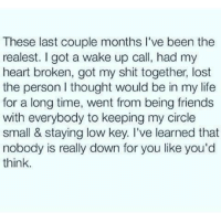- Bad Ass Bitches: These last couple months l've been the  realest. got a wake up call, had my  heart broken, got my shit together, lost  the person thought would be in my life  for a long time, went from being friends  with everybody to keeping my  circle  small & staying low key. I've learned that  nobody is really down for you like you'd  think. - Bad Ass Bitches