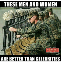 Memes, Ar15, and 🤖: THESE MEN AND WOMEN  VETERANS  COME FIRST  ARE BETTER THAN CELEBRITIES DOUBLE TAP IF you agree↩ See last post ✔ Merica USA Military Badass Badassery Guns 2ndAmendment MericaMilitaryPosts AR15 USArmy USMarines USNavy USAirForce USCoastGuard Flag Patriot Veteran Patriotic America American Freedom NavySEALs USMC Tactical Troops Operator