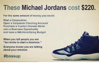 """Books, Driving, and Jordans: These Michael Jordans  cost $220  For the same amount of money you could:  Start a Corporation  Open a Corporate Checking Account  Purchase a Custom Domain Name  Join a Business Opportunity  and have a $65 Advertising Budget  When you tell people you are  """"too broke to start a business.""""  Everyone knows you are talking  about your mindset.  What would you prefer? Your mindset can make or break you. . Audible (Amazon's audiobook platform) is giving away a FREE audiobook download. You can download any audiobook you want (yes, for free) with the link in our 👉 @minoritymindset bio. Now you can listen to books while you're driving or out on a run. FTM ThinkMinority @m2jaspreetsingh"""