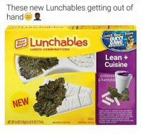 Lunchables: These new Lunchables getting out of  hand()  Lunchables  Lunch, Roar& Score  GANG  Adventure  LUNCH COMBINATIONS  Lean +  Cuisine  @Glocxs  @Xannyta  NEW