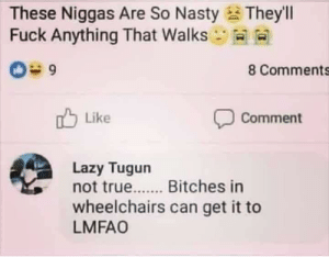 Lazy, Nasty, and True: These Niggas Are So Nasty  Fuck Anything That Walks  Theyll  8 Comments  Like  Comment  Lazy Tugun  not true.....Bitches in  wheelchairs can get it to  LMFAO Meirl