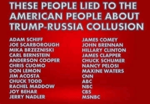 Abc, cnn.com, and Hillary Clinton: THESE PEOPLE LIED TO THE  AMERICAN PEOPLE ABOUT  TRUMP-RUSSIA COLLUSION  ADAM SCHIFF  JOE SCARBOROUGH  MIKA BRZEZNISKI  CARL BERNSTEIN  ANDERSON COOPER  CHRIS CUOMO  DON LEMON  JIM ACOSTA  CHUCK TODD  RACHEL MADDOW  JOY BEHAR  JERRY NADLER  JAMES COMEY  JOHN BRENNAN  HILLARY CLINTON  JAMES CLAPPER  CHUCK SCHUMER  NANCY PELOS  MAXINE WATERS  CNN  ABC  NBC  CBS  MSNBC These people and these media outlets all Lied to the American people about Trump-Russia collusion