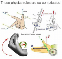 Thanks to Alessandro Sparapan, from our group.: These physics rules are so complicated  motion  field  Electric curren  B  Current  Magnetic field  IRREVERENT ITALIAN MEMES  IIM Thanks to Alessandro Sparapan, from our group.