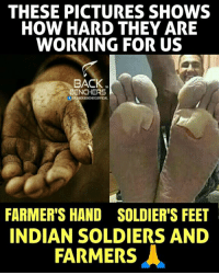 Indian Army and Farmers 😞 .... Respect 🙏 ....: THESE PICTURES SHOWS  HOW HARD THEY ARE  WORKING FOR US  BACK.  TM  BENCHERS  f THEBACKBENCHERSOFFICIAL  FARMER'S HAND SOLDIER'S FEET  INDIAN SOLDIERS AND  FARMERS人 Indian Army and Farmers 😞 .... Respect 🙏 ....