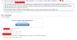 These Redditors being openly transphobic: These Redditors being openly transphobic