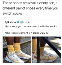 Amazing 😂👌🏾 - - - - funnyshit funmemes100 instadaily instaday daily posts fun nochill girl savage girls boys men women lol lolz follow followme follow for more funny content 💯 @funmemes100: These shoes are revolutionary son, a  different pair of shoes every time you  switch socks  B/R Kicks@brkicks  Make sure you come correct with the socks  Nike React Element 87 drops July 13 Amazing 😂👌🏾 - - - - funnyshit funmemes100 instadaily instaday daily posts fun nochill girl savage girls boys men women lol lolz follow followme follow for more funny content 💯 @funmemes100