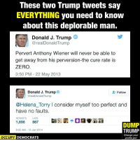 What a hypocrite!  Image by Occupy Democrats, LIKE our page for more!: These two Trump tweets say  EVERYTHING you need to know  about this deplorable man.  Donald J. Trump  @real Donald Trump  Pervert Anthony Wiener will never be able to  get away from his perversion-the cure rate is  ZERO  3:50 PM 22 May 2013  Donald J. Trump  Follow  @real ld Trump  @Helena Torry l consider myself too perfect and  have no faults.  RETWEETS  1,696  987  DUMP  9:02 AM 13 Jan 2014  TRUMP  Change your  OCCUPY DEMOCRATS  profile pic! What a hypocrite!  Image by Occupy Democrats, LIKE our page for more!