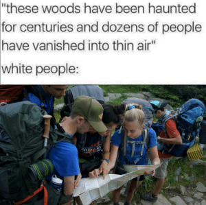 "Be Like, Movies, and White People: ""these woods have been haunted  for centuries and dozens of people  have vanished into thin air""  white people:  WG  THO Horror movies be like"
