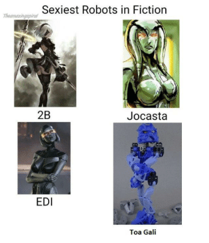 She is sexy and everyone knows this: Thesmaringspica Sexiest Robots in Fiction  2B  Jocasta  EDI  Toa Gali She is sexy and everyone knows this