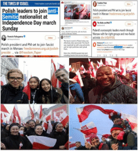 "Independence Day, Memes, and News: THETIMES OF ISRAEL Polish leaders tojon anti-Semitic nat  Polish leaders to join  Semitic  Independence Day march  Sunday  Freedom Press  anti-  Polish president and PM set to join fascist  nationalist at  march in Warsaw freedomnews.org uk/polish-  preside  The Globe and Mail  lolos  v  Poland's eurosceptic leaders march through  Warsaw with far-right groups and neo-fascist  activists dlvr.it/QrOYD  march in Warsa, Poland  Francis Fukuyama .  ollow  The fascist march in Poland today was  effectively state-sponsored. The march  was crganized by right-wing extremists,  and far-right politicians later joined  Euoberverobs Nov  Polish president and PM set to join fascist  march in Warsaw freedomnews.org.uk/pthem  preside ...via @Freedom Paper  Wanaa making Poland lookeven oe on the ae  More than 200000 people took part  ncluding fascists from across Europe The ""news"" and ""journalists""   VS   Reality and Poland."