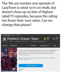 Family, Lazy, and Work: The'We are number one' episode of  LazyTown is rated 1o/10 on imdb, but  doesn't show up on lists of highest  rated TV episodes, because the rating  has fewer than 10oo votes. Can we  change that please?  Lazy Town (2002-2016)  + Robbie's Dream Team 10  You  U  30min Adventure, Comedy, Family Episode aired 3 October 2014  Season 4  Episode 12  Previous All Episodes (82)  Next>  Robbie hires three entertainer clones of himself to catch Sportacus,  but the clones don't have any previous villain work, so Robbie  teaches them how to be villains through a song that would...  See full summary»  Stars: Magnús Scheving, Chloe Lang, Stefán Karl Stefánsson  See full cast & crew»  + Add to Watchlist  Reviews  3 user I know it's been a while