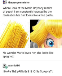 Memes, Mario, and Free: theweegeemeister  When i look at the Mario Odyssey render  of peach l am constantly haunted by the  realization her hair looks like a fine pasta.  No wonder Mario loves her, she looks like  spaghetti  atomictiki  I HoPe ThE pRİNCESS iS lotsa SpAgHeTtl link in my bio for student discounts on a bunch of popular retailers its free to sign up u just get discounts for being a student
