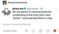 "True, Genius, and Time: theweirdwideweb  jomny sun@jonnysun-6d  the true genius of classical pavloviarn  conditioning is that every time i hear  ""pavlov"" i automatically think of a dog  Source: theweirdwideweb  10080 notes  o o"