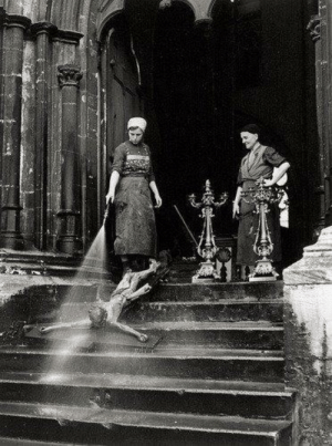 Jesus, Reddit, and Target: thewolfbroughtindoors:  historicaltimes:   Cleaning women washing a crucifix, 1938 via reddit   Me, thinking they're hosing an emaciated child down the stairs: oh jesus… Me, realizing it is in fact our lord and savior on the cross: oh, Jesus…