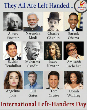 Mention that friend who is a lefthander: They All Are Left Handed...  LAUGHING  Colours  Charlie  Narendra  Barack  Albert  Modi  Chaplin  Obama  Einstein  Sachin  Mahatma  Gandhi  Isaac  Amitabh  Bachchan  Tendulkar  Newton  Angelina  Jolie  Oprah  Winfrey  Bill  Tom  Cruise  Gates  International Left-Handers Day Mention that friend who is a lefthander