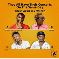 Memes, 🤖, and Speed: They All Have Their Concerts  On The Same Day  Which Would You Attend?  SPEED DARLINGTON  CUPPY  EFE  VIC C  @KraksTV Whose show would you attend? 😂😂👇🏾 . KraksTV