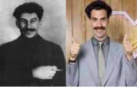 They are similar to each other? Young Stalin(left) and Borat(right): They are similar to each other? Young Stalin(left) and Borat(right)