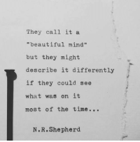 """Beautiful, Time, and Mind: They call it a  """"beautiful mind""""  but they might  describe it differently  if they could see  what was on it  most of the time...  N.R.Shepherd"""