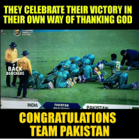 Next time Team India will win 😎 #BleedBlue #Respect: THEY CELEBRATE THEIR VICTORY IN  THEIR OWN WAY OF THANKING GOD  CHAMPIONS  TROPHY 2007  THE FINAL  BACK  BENCHERS  INDIA  PAKISTAN  WIN BY Ian RUNS  CONGRATULATIONS  TEAM PAKISTAN Next time Team India will win 😎 #BleedBlue #Respect